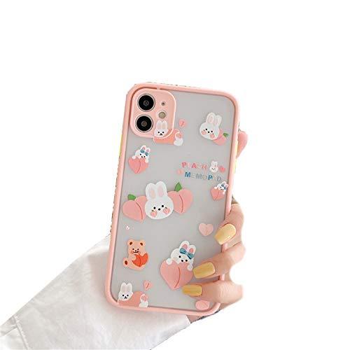 EYDLK Korea Cartoon Camera Protection Border Rabbit Peach Soft Phone Case for iPhone 11 Pro MAX X XS XR 7 8 Plus 2020 SE Cover