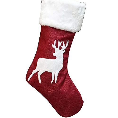 TENER Regalos Decoración Navidad Calcetines de Navidad Bolsa de Regalo Rojo cáñamo Elk Bordado de Navidad Calcetines de Navidad Colgante de Navidad (Color : B)