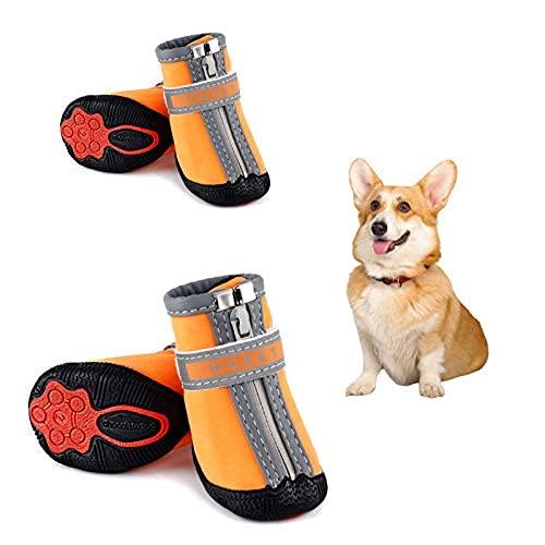 Petotw Zapatos Impermeables para Perros Botas Antideslizantes para Perros Protector de Pata con Tira Reflectante Botas para Perros Pequeños y Medianos 4 Piezas (XS, Naranja, 3#)
