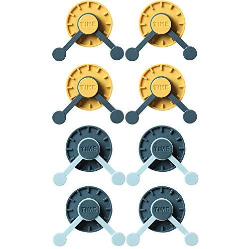 ADICOM 4/8 ganchos de reloj giratorios de 360 °, con forma de reloj creativo, para colgar en la pared, escritorio, cocina, baño, detrás de la puerta, 8 unidades