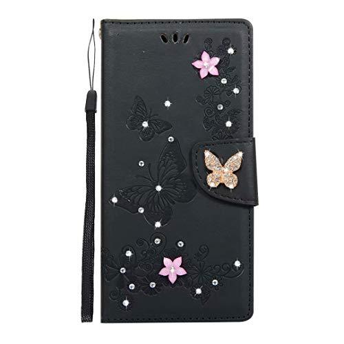 Custodia per iPhone 11 Pro Max, 3D con doppia farfalla di diamante in pelle PU di alta qualità Flip Notebook Custodia a portafoglio con supporto per carte di credito Slot per iPhone 11 Pro Max