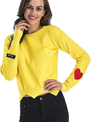 Flying. Dames gebreide ronde hals lange rmel eenkleurig liefdesvorm bedrukken sweatshirt herfst en winter eenvoudig trui sweatshirt