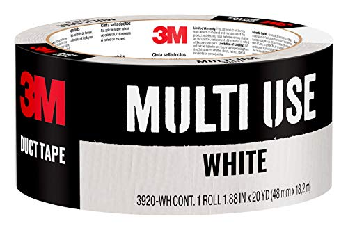 Scotch Painter's Tape 3M Multi-Use Colored Duct Tape White 1.88 Inches by 20 Yards, 3920-WH, 1 Roll