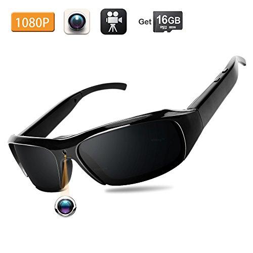 WISEUP 16GB 1920x1080P HD Versteckte Spionagekamera Sonnenbrille Tragbar Eyewear Video Überwachungskamera mit SD Aufzeichnung
