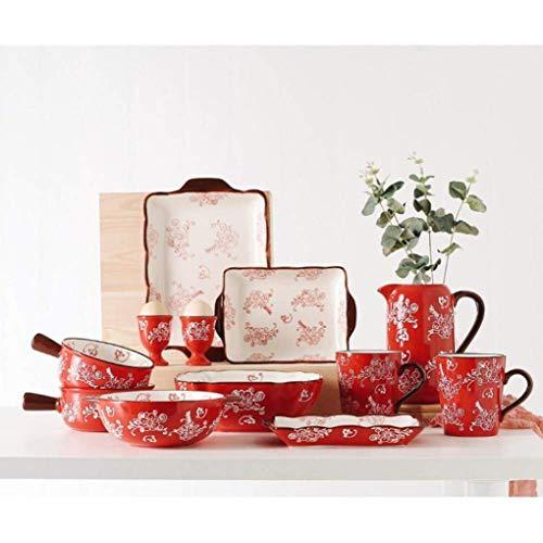 HKX Juego de Platos/Plato/Cuenco, 12 Piezas, Juego de vajilla de cerámica de Color con vidriado, Juego de vajilla de Porcelana, Belleza Oriental, Boda, Regalos de inauguración de la casa