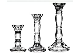 """★Exquisite Design: This exquisite glass candle holders comes with a goblet taper holder sits atop a beautiful pedestal to create a smooth, curved surface shape.3 different size satisfy your daily all need . ★100% Match: Choose from a 4"""" or 6"""" or 8"""" s..."""