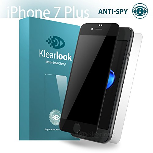 Klearlook kompatibl mit Panzerglas kompatibe i'Phone 7 8 Plus,Privacy Glas,Anti Spy,für 5.5 Zoll Hülle Freundlich,9H Anti Kratz,3D Touch Fit,1x Bildschirm Hartglas,Schwarz,matt Rückseite Kohlefaser