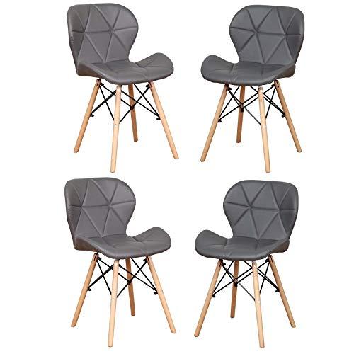 EGOONM Esszimmerstühle 4er Set,Modern Gepolstert Gebogen Küche Stühle für Wohnzimmer Esszimmer (grau-4)