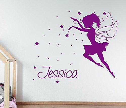 YourSecretGift AG13 Sticker Mural personnalisé avec nom et fée Magique pour Chambre à Coucher, Vinyle, Rose bébé, Small