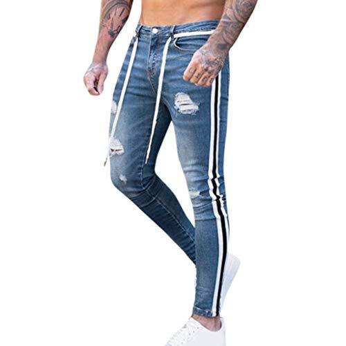 VPASS Pantalones Vaqueros para Hombre,Pantalones Casuales Moda Jeans Rotos Trend Largo Pantalones...