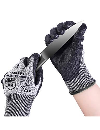 Donfri Anti-Schneidhandschuhe Hochleistungsschutz Grad 5 Arbeitshandschuhe geeignet schnittfest Bequemer PU-beschichteter Palm-Touchscreen (1, M)