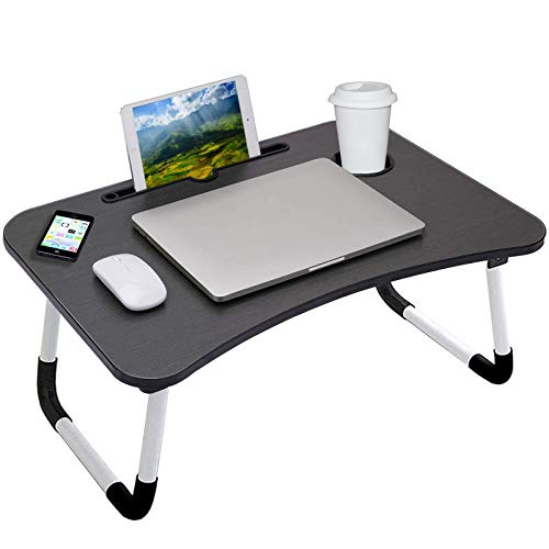 Laptop Bed Table, Portable Lap Desk with Foldable Legs Cup Slot Reading Holder Notebook Stand Breakfast Bed Tray Book Holder for Eating Breakfast, Reading, Watching Movie on Bed/Sofa - Black