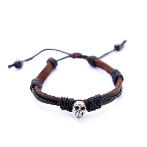 Morella Damen Armband aus Leder mit Totenkopf