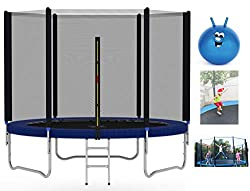 ⭐Trampoline protective net with zipper: The trampoline is equipped with a cylindrical zipper protective net to avoid falling, easy to get in and out, and 360 degrees to protect the safety of the user. ⭐Heavy duty galvanised steel frame ⭐Wear-resistan...