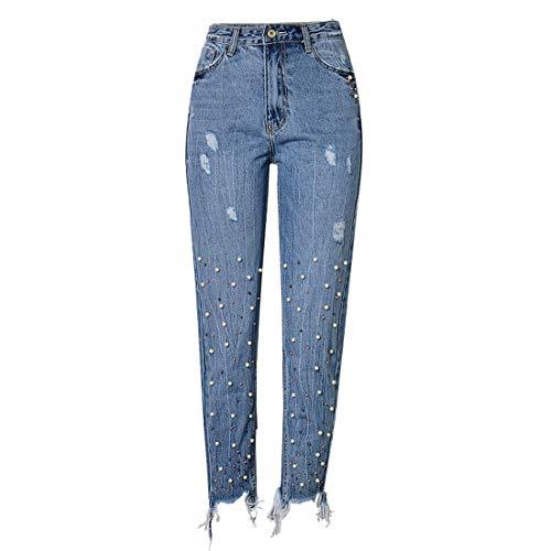 PanpanBox Vaqueros Mujer con Perlas Recto Pantalones Cintura Alta Jeans Pants Primavera Otoño Pantalones Cargo Desgarrados Pantalones Chino (40-L)
