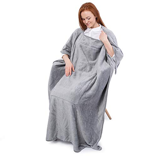 Flexicomfort Travel Blanket – Wearable Compact Airplane Blanket - Double Zippered Pockets for Storage –Soft, Lightweight, Packable, & Cozy Throw Blanket for Travel, Car – Easy to Carry & Fold Up