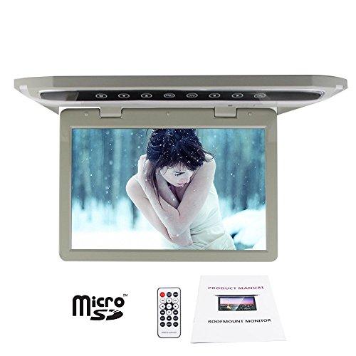 12.1 schermo ad alta risoluzione con 1280 * 768 PUPUG TFT tetto Monte Monitor con MPG / RM / RMVB / AVI / MPEG / VOB / DIVX Video Display telecomando wireless di sostegno 1080P MP4 / LCD (grigio)
