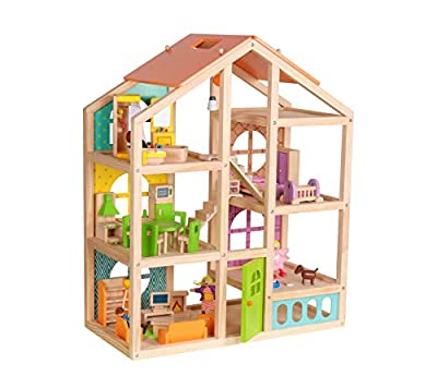 Abigail Wooden Dollhouse with Furniture and Dolls and Pet Dog