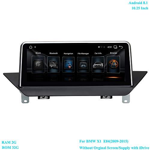 XISEDO Android 8.1 Autoradio 10.25 Pouces Écran 6-Core RAM 2GB ROM 32GB Car Radio Système de Navigation GPS pour BMW X1 E84(2009-2015) sans Écran d'origine/Fournir avec iDrive