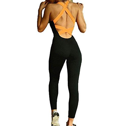 juqilu Frauen Sportbekleidung Damen Yoga Jumpwear Tanzsport Fitness Overalls Bodysuit Slim Fit Tracksuits Bequeme Sport Hose Fitness-Overall Sport beiläufige Lange Jumpsuits