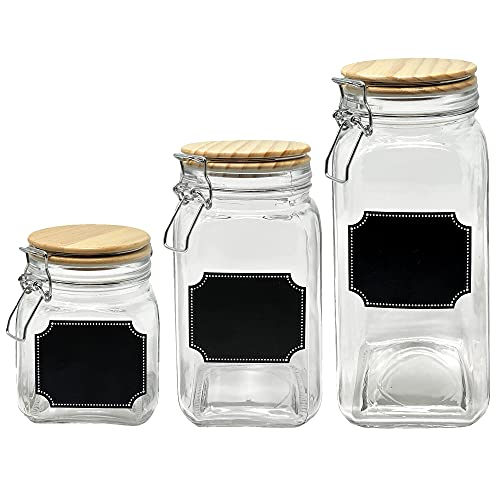 Glass Canisters Mason Jar Food Storage with Airtight Wood Lid - 58oz, 42oz, 26oz Set of 3 Kitchen Containers for Sugar, Coffee, Flour, Cereal and Pasta
