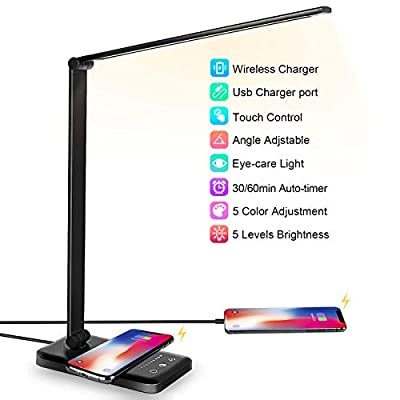 LED Desk Lamp with Wireless Charger, USB Charging Port, Desk Lighting with 5 Brightness Level,5 Lighting Modes, Dimmable Eye-Caring Reading Desk Light for Home, Office Lights,Touch Control,Auto Timer from JOSTIC