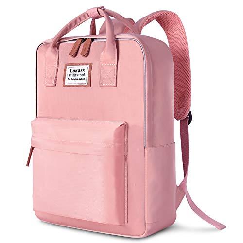 SOCKO Laptop-Rucksack für Damen/Mädchen, stylischer College-Rucksack, Schultasche, leicht, für Reisen, Arbeit, Handgepäck, lässiger Tagesrucksack, Computer-Tasche, passt bis zu 15,6 Zoll Laptop, Pink