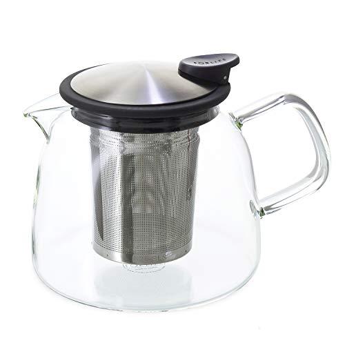 Forlife Bell Glas-Teekanne mit Sieb, 730 ml, Graphit Schwarz