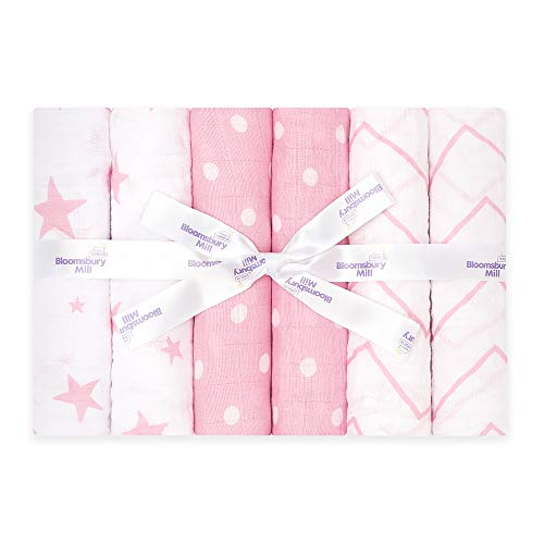 Bloomsbury Mill - Pack of 6 - 100% Organic Cotton Muslin Squares – Breathable & Soft Baby Cloths – Essential Newborn Gift in Stars, Chevrons & Polka Dots Designs - Pink & White - 70cm x 70cm