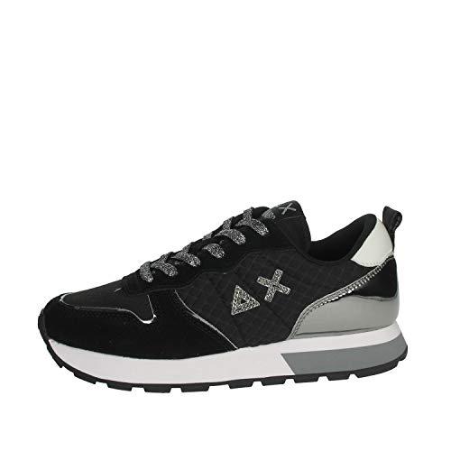 SUN68 Sneaker Running Ally Sporty in Pelle Scamosciata/Tessuto Nero/Argento Donna D21SU07