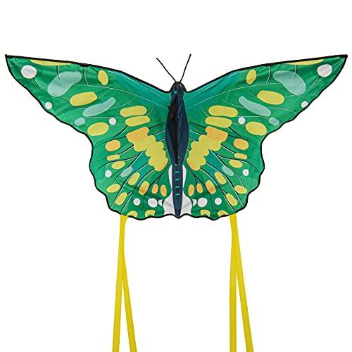 Funyole Schmetterlingsdrachen für Kinder und Erwachsene mit langem Schwanz, schöne Kinderdrachen groß für Anfänger einfach zu fliegen für Outdoor-Spiele-Aktivitäten, Strand Reise 130*60cm blau