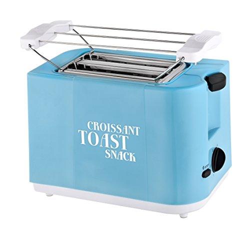 Team Kalorik 2-Scheiben-Toaster, Separater Brötchenaufsatz, Integrierte Krümelschublade, 700 W, Blau, TKG TO 46 BL