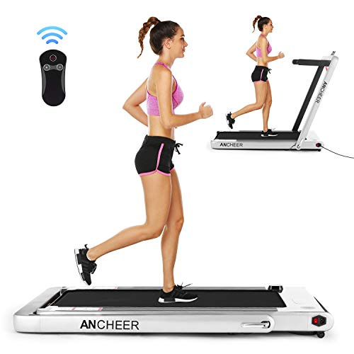 ANCHEER Folding Treadmill, Under Desk Smart Electric Treadmill with Remote Control and Bluetooth Speaker & LCD Monitor, 2 in 1 Walking Running Machine Trainer Equipment for Home Gym Office