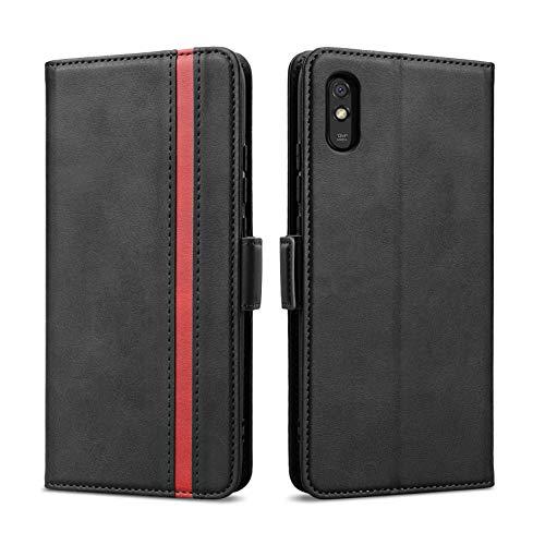 Rssviss Hülle für Xiaomi Redmi 9A, Handyhülle Xiaomi Redmi 9A PU Leder Hülle [4 Kartenfächer] mit [Magnetverschluss] [Handy Ständer] Klapphülle Xiaomi Redmi 9A Schutzhülle 6,53
