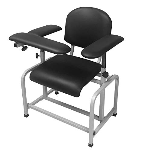Helsevesen Comfortable Padded Blood Drawing Chair, Phlebotomy Chair with Adjustable Armrest (Black)