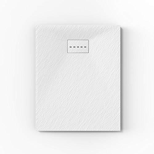 ELEGANT 1000x700mm White Slate Effect Lightweight Slate Shower Base Rectangular Grain Shower Enclosure Tray with Waste Trap