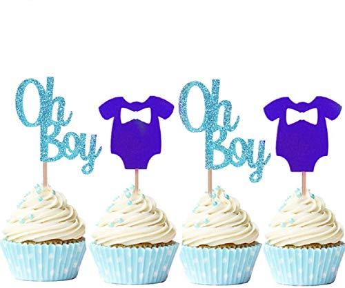 JeVenis Cupcake-Aufsätze, violett, blau, Oh Boy, für Babyparty, 30 Stück