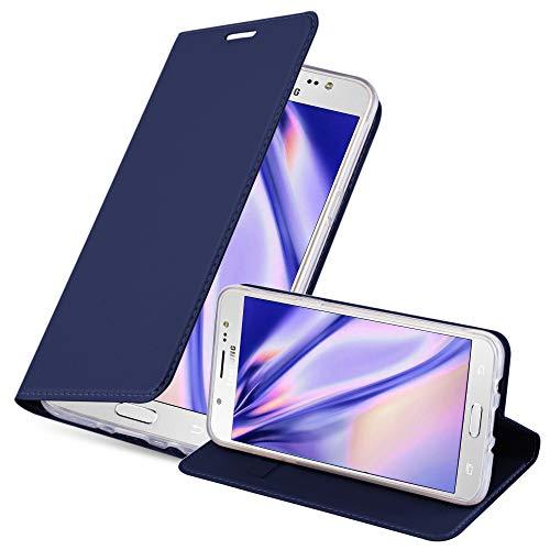Cadorabo Funda Libro para Samsung Galaxy J5 2016 en Classy Azul Oscuro - Cubierta Proteccíon con Cierre Magnético, Tarjetero y Función de Suporte - Etui Case Cover Carcasa