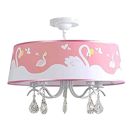 LIQIONG Nuevo Cisne Rosa Crystal Chandelier Chica Dormitorio Princess Room Techo, Usado en Cuarto de vivero para niños y niñas (Color : Warm Light, Size : 43cm)