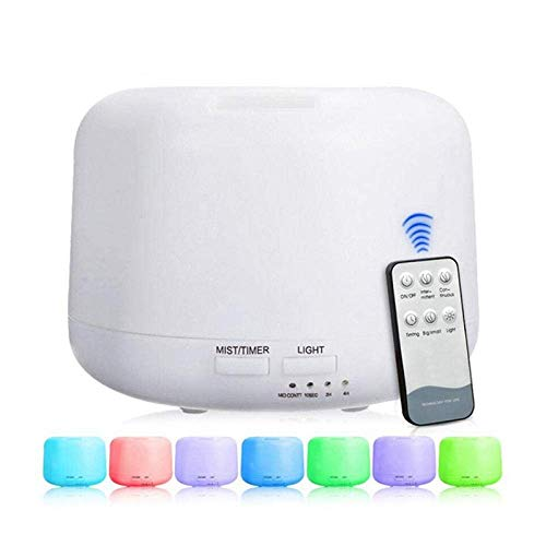 Humidifiers Essential Oil Aroma Diffuser Ultrasonic Air 500Ml With 7 Color Lights Electric Aromatherapy Essential Oil With Remote Control-300Ml_Us WTZ012 (Color : 300ml, Size : US)