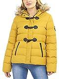 SS7 Womens Puffer Jacket Padded Parka Faux Fur Coat Plus Sizes Mustard