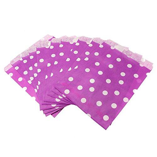 Set de 100 bolsitas de lunares de papel para caramelos, dulces, etc. 13 x 17 cm, ideal como obsequio de bodas violeta