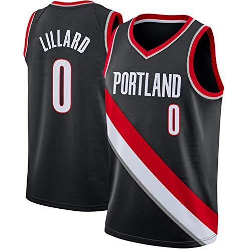 NBA Portland Trail Blazers #0 Damian Lillard - Camiseta de baloncesto sin mangas de malla bordada para fiesta, duradera, transpirable, color negro, S