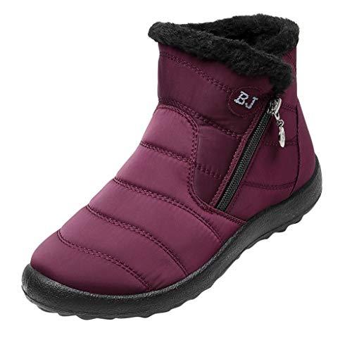 HDUFGJ Damen Schneeschuhe Plus Samt Warm halten rutschfeste Wasserdicht Outdoor-Schuhe für Sport Hiking Trekking-& Wanderhalbschuhe Verschleißfest Freizeitschuhe Laufschuhe Bequem39 EU(rot)