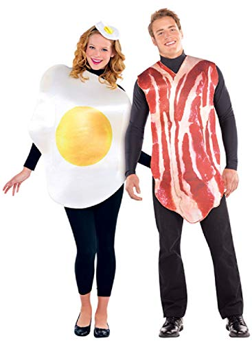 Couples Ladies And Mens Bacon & Egg Breakfast Food Fun Novelty Fancy Dress Costume Outfits
