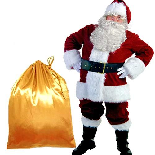 PrettyQueen Christmas Santa Claus Costume for Men Deluxe Velvet Santa Suit Adults Men