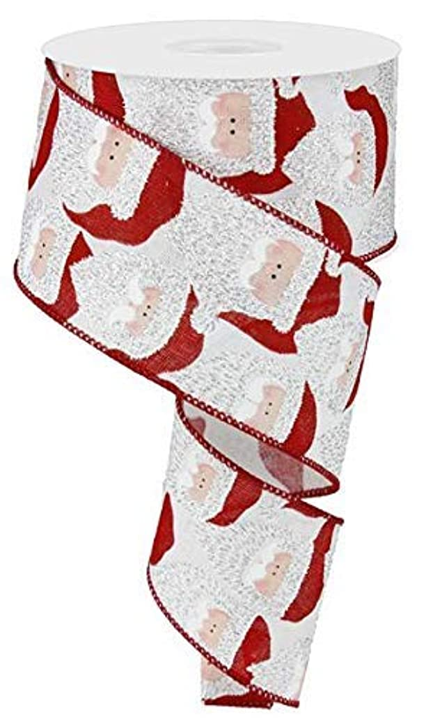 Santa Claus Face Christmas Ribbon: Red and White 2.5