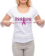 أعتقد الوردي سرطان الثدي الوعي الأبيض التي شيرت للنساء