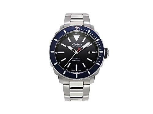 Alpina Seastrong Diver 300 Automatik Uhr, Schwarz, 44mm, 30 atm, Stahlband