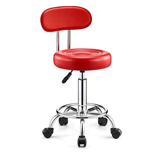 LSMK Taburetes Excelente Taburete Rodante Rojo con Respaldo, Sillón de Salón Ajustable, Reposapiés Giratorio de 360 °, Soporte de Carga de 100 Kg, Taburetes de Oficina Redondos